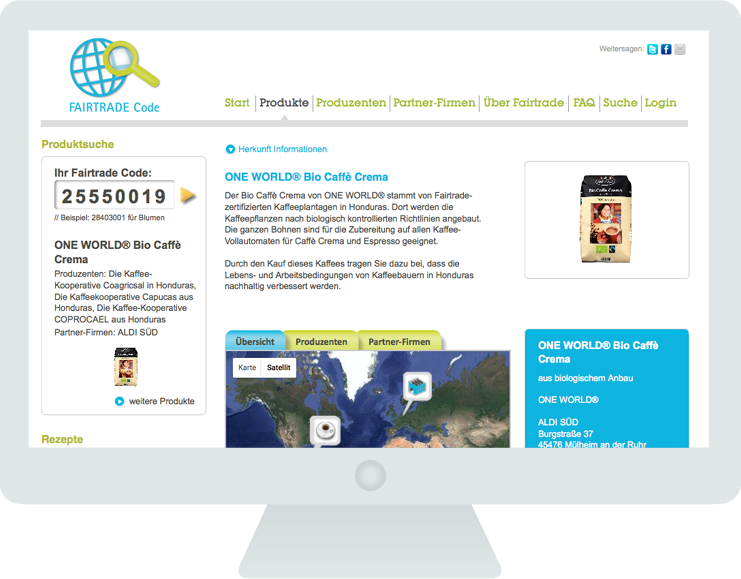 Fairtrade Code Produkt