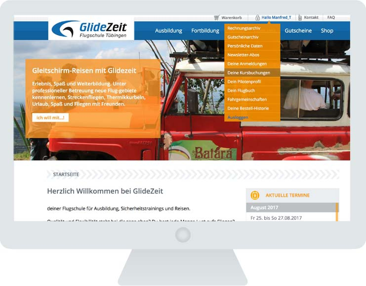 Glidezeit Screen Kundenmenue
