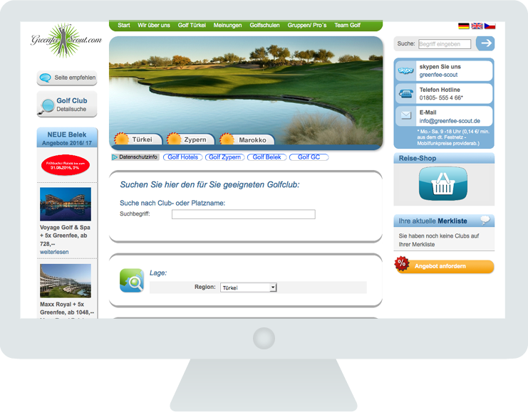 Screen Greenfee Scout 3